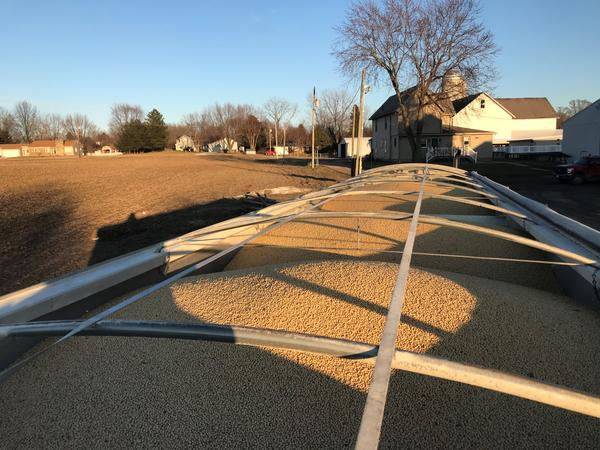 A full trailer of soybeans sits at a farm in Ohio in winter 2019.