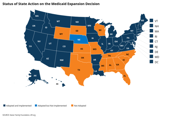 North Carolina is one of a handful of states not to have adopted Medicaid expansion.