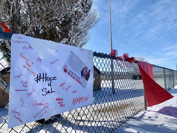 """Posters with the message """"Hope for Sal"""" on a fence at the Interstate-90 eastbound rest stop between Hardin and Billings on January 15, 2020."""