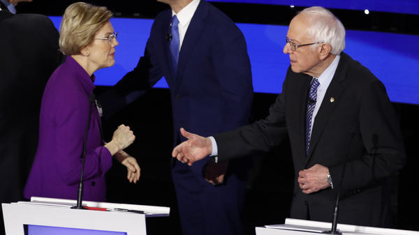 Democratic presidential candidate Sen. Elizabeth Warren called out Sen. Bernie Sanders, I-Vt., after Tuesday's debate.