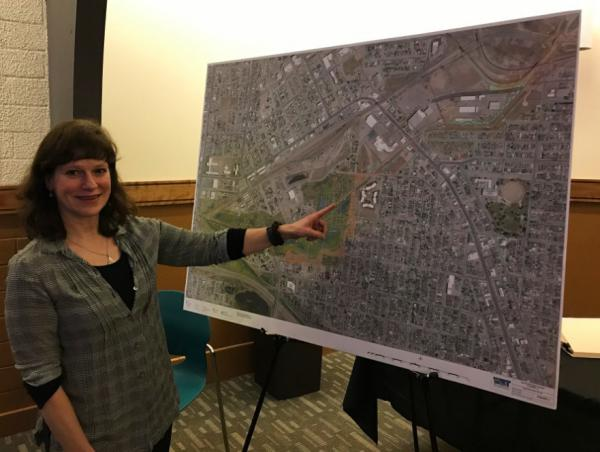 Project Manager Elizabeth Erickson with Water and Environmental Technologies presents the results of their Silver Bow Creek restoration study in Butte, Jan. 14, 2020.