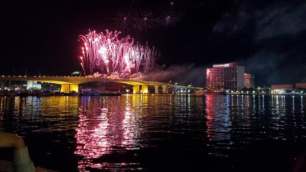 Fireworks were shot off the Acosta Bridge as part of Downtown Jacksonville's Nov. 30 fireworks display that took place following the annual boat parade.