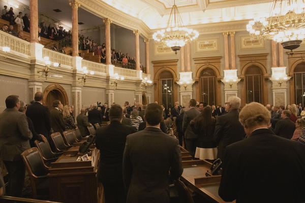 The scene inside the Kansas House chambers on Wednesday night before Gov. Laura Kelly's State of the State address.