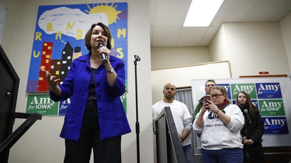 Democratic presidential candidate and Minnesota Sen. Amy Klobuchar speaks during a campaign event Sunday in Des Moines, Iowa. President Trump's impeachment trial will pull her and three other candidates off the trail at a critical juncture.