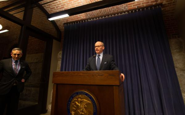 Senate President Don Harmon took a few questions from reporters in the Illinois State Capitol Building's Blue Room.