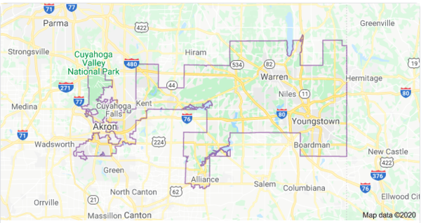 Ohio's 13th Congressional District includes the Mahoning Valley and parts of Portage, Stark and Summit Counties.