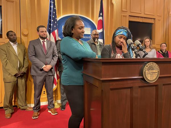 Crystal Brown, left, comforts her 15 year old daughter Josephine Brown-Walker as she talks about her EdChoice voucher, which allows her to attend a Christian high school in Columbus.