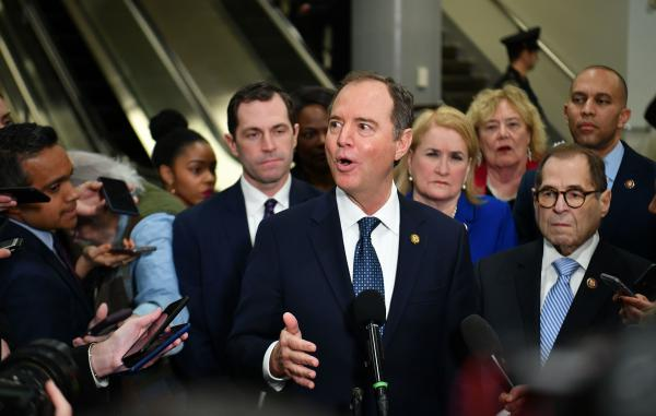 Lead House manager Adam Schiff speaks to the press at the U.S. Capitol on Wednesday ahead of the second day of President Trump's impeachment trial.
