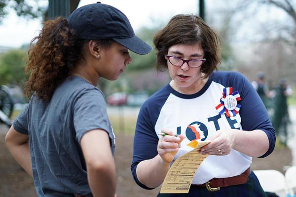 Voter-registration efforts in Austin in 2018.
