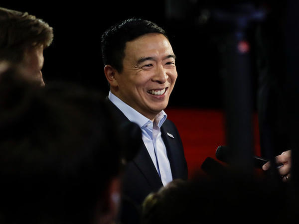Democratic presidential candidate entrepreneur Andrew Yang responds to questions following a Democratic presidential primary debate at Otterbein University, Tuesday, Oct. 15, 2019, in Westerville.