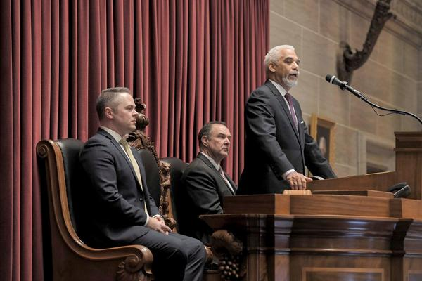 Missouri Chief Justice George Draper, center, delivers his State of the Judiciary Address on Wednesday as House Speaker Elijah Haahr, R-Springfield (left), and Lt. Gov. Mike Kehoe listen.