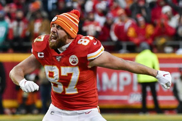 Travis Kelce had 1,229 receiving yards in the regular season, and 75 yards in the AFC Championship.