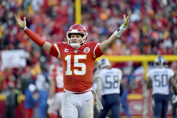 Quarterback Patrick Mahomes passed for three touchdowns and ran for another in the AFC Championship game.