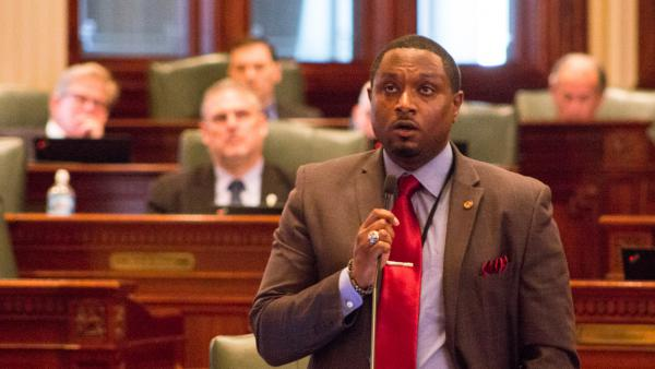 State Rep. Maurice West speaks on the floor of the Illinois House in this file photo from 2019.