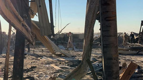 Damage at the al-Asad military base in Iraq, days after a missile attack by Iran. The barrage was in retaliation for the U.S. killing of a top Iranian general in a drone strike in Baghdad on Jan. 3.