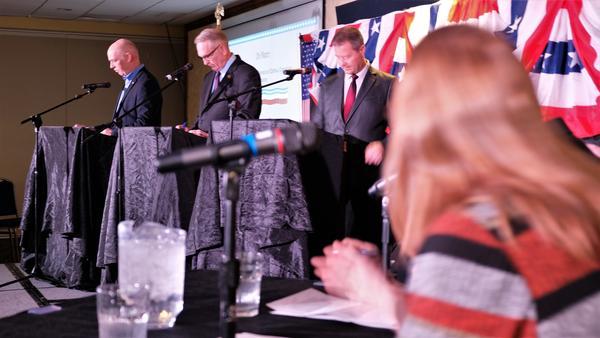Republican governor hopefuls U.S. Congressman Greg Gianforte, Montana Attorney General Tim Fox and state Senator of Kalispell Al Olszewski faced off in their first full debate Jan. 23, 2020 in Billings.