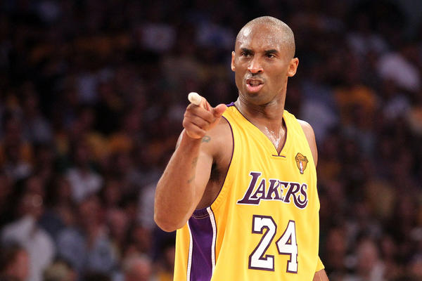 Bryant points during the second quarter of Game Seven of the 2010 NBA Finals against the Boston Celtics at the Staples Center on June 17, 2010.