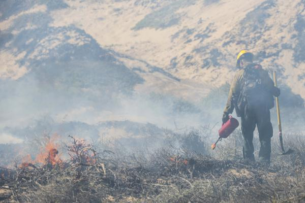 A fire fighter monitors a controlled burn Sept. 18, 2019 at Vandenberg Air Force Base, Calif. The burn was intended to reduce the risk of wildfires.