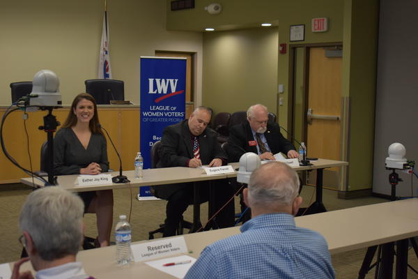 Esther Joy King, Eugene Farrell, and Bill Fawell participating in a League of Women Voters of Greater Peoria candidates forum, 1/25/20 in East Peoria, Ill.