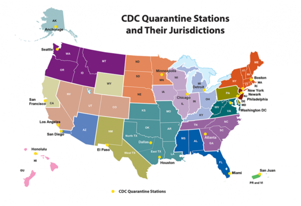 This map from the Centers for Disease Control and Prevention shows the 20 sites where officials will be doing coronavirus screenings.