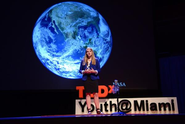 Delaney Reynolds, a student at the University of Miami, led a discussion about climate change during the TEDx Talks in Miami when she was 17 years old.
