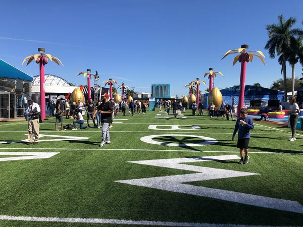 An AstroTurf field with fake palm trees is set up at Bayfront Park in downtown Miami for the Super Bowl Live event this week.