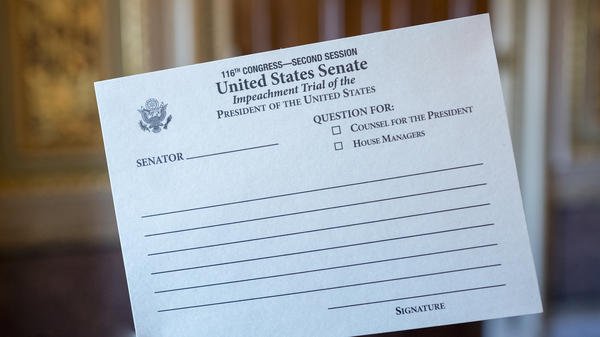 Senators are using these cards to hand-write their inquiries during President Trump's impeachment trial. The cards are passed up to Chief Justice John Roberts.