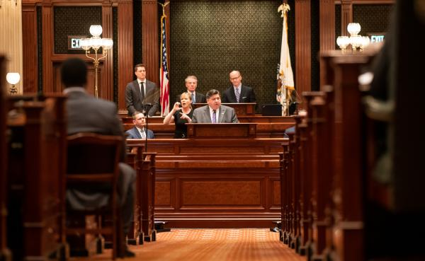 Gov. J.B. Pritzker delivers his State of the State address to a joint session of the Illinois General Assembly in this photo provided by the state.