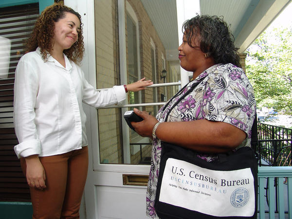 Census workers, like this one from the 2010 count, will begin work in Ohio in April.