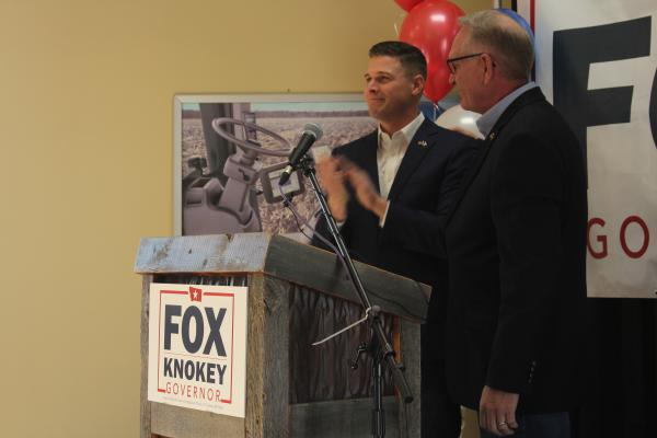 Montana Attorney General Tim Fox (right) stands along his running mate, former state representative Jon Knokey, during a press event in Belgrade on Jan. 29, 2020.