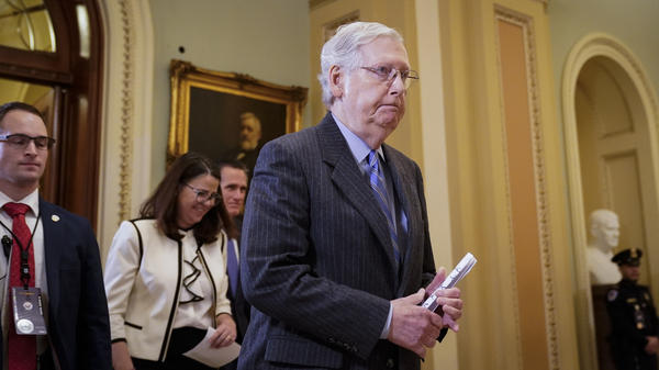 Senate Majority Leader Mitch McConnell, R-Ky., leaves the Senate chamber during a recess in the impeachment trial of President Trump on Friday. Senators voted against admitting witnesses and new evidence on Friday.