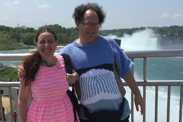 In his Niagara Falls sweater, Barsky visits the tourist site with his wife, Deborah.