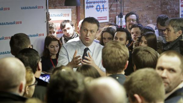 Russian opposition leader Alexei Navalny speaks with supporters this weekend in St. Petersburg, Russia.