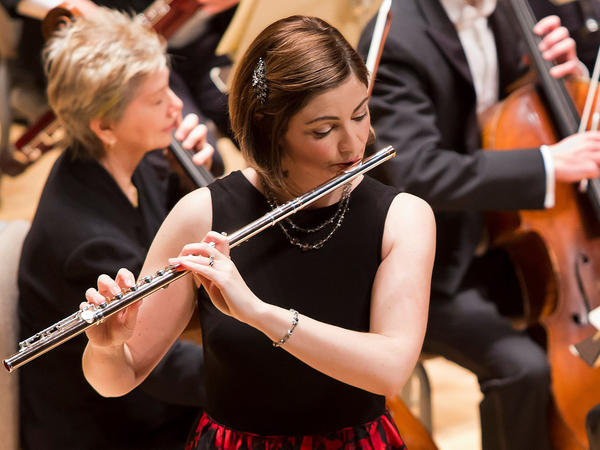 Flutist Elizabeth Rowe, performing as a soloist with the Boston Symphony Orchestra in 2016.