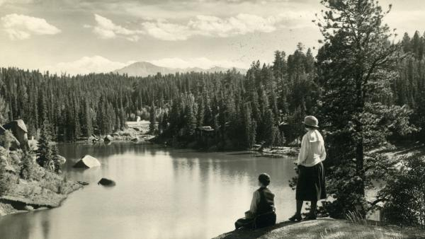 "A view of Pikes Peak from the Carroll Lakes, circa 1925. Katharine Lee Bates' trip up the Colorado mountain inspired her poem ""America,"" later to become the song ""America the Beautiful."""