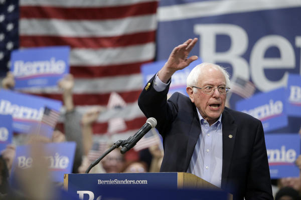 Sen. Bernie Sanders, I-Vt., speaks to supporters at an Iowa rally in March.
