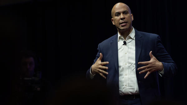 Democratic presidential candidate and New Jersey Sen. Cory Booker speaks at the Teamsters Vote 2020 Presidential Candidate Forum Dec. 7 in Cedar Rapids, Iowa.