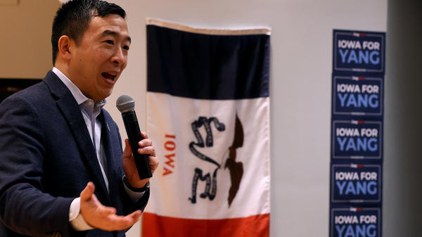 Democratic presidential candidate Andrew Yang holds a town hall meeting at Cox-Snow Recital Hall at Central College in Pella, Iowa, on Saturday — part of a 17-day bus tour through the state.