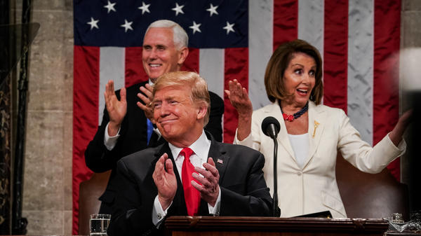 President Trump, Speaker Nancy Pelosi and Vice President Pence applaud during the State of the Union address on Feb. 5, 2019.