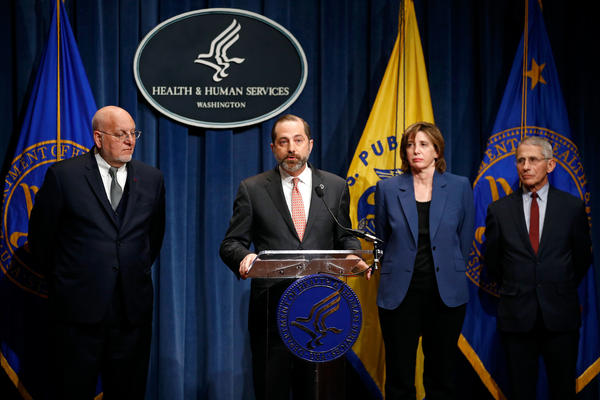Health and Human Services Secretary Alex Azar led a news conference about the federal government's response to the outbreak of coronavirus. The conference included CDC's Robert Redfield, left, Nancy Messonnier and Anthony Fauci from the NIH.