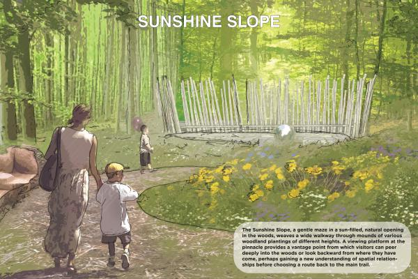 The Sunshine Slope, a gentle maze in a sun-filled, natural opening in the woods, weaves a wide walkway through mounds of various woodland plantings of different heights.