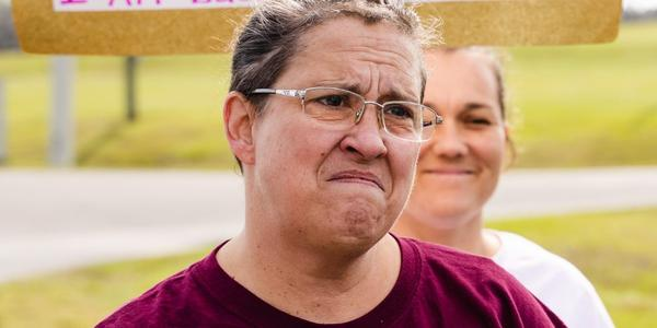 Janice Spears looks on in anguish as she listens to Rep. Dianne Hart speak of the plight of Florida's criminal justice system during a protest at Lowell Correctional Institute on Sunday afternoon, January 23, 2020. JUSTIN BRIGHT/FRESH TAKE FLORIDA