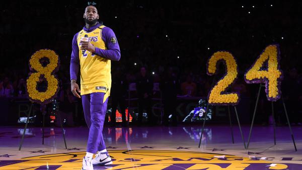 LeBron James offered a heartfelt tribute to Kobe Bryant during the Los Angeles Lakers pregame ceremony at the Staples Center Friday.