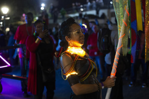 The Women of Wakanda sub-krewe marches in the parade. This group is one of the newest sub-krewes and is inspired by the fierce warriors in the 2018 film <em>Black Panther.</em>