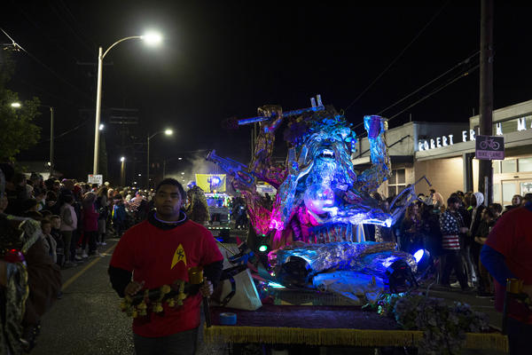 The Chewbacchus krewe's idol: Chewbacchus, a six-armed Wookiee made of Styrofoam, comes down the street.