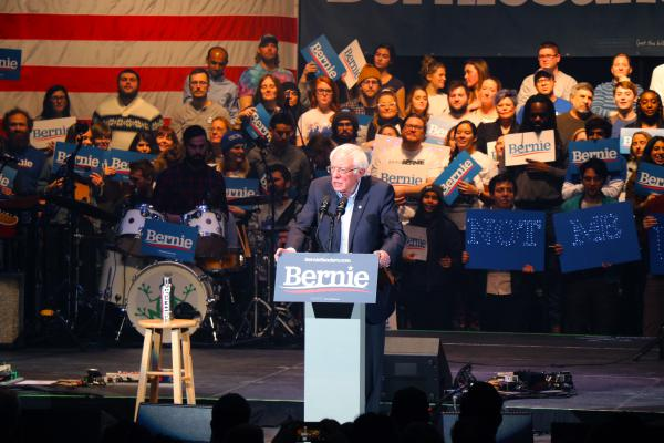 Vermont Sen. Bernie Sanders speaks at a rally where Vampire Weekend also performed in Cedar Rapids, Iowa on Saturday. Sanders' campaign is emphasizing voter turnout in the run-up to Monday night's caucuses.
