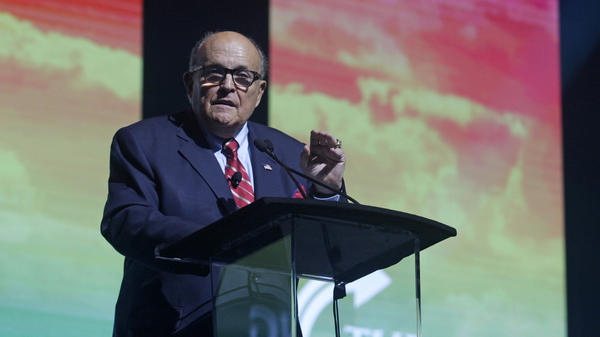 Rudy Giuliani addresses the crowd at the Turning Point USA Student Action Summit on Dec. 19, 2019 in Palm Beach, Fla.
