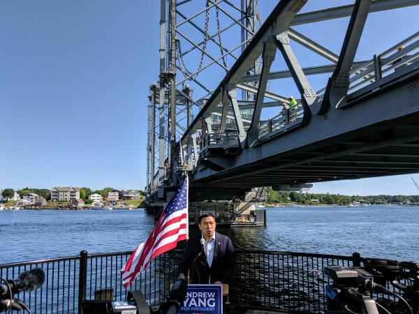 Presidential candidate Andrew Yang announced his climate change platform in Portsmouth earlier this year.