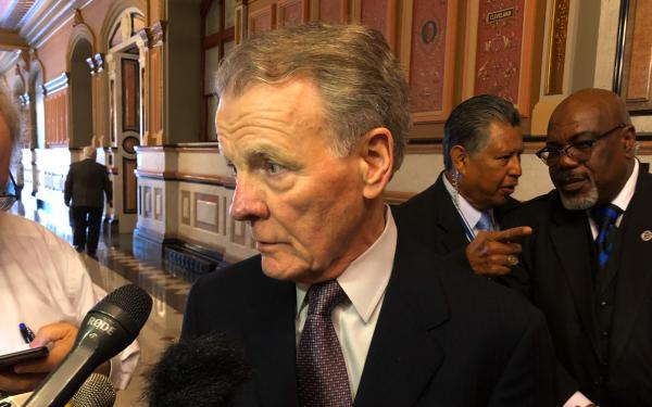House Speaker Michael Madigan spoke with reporters Tuesday after a meeting of the House Democrats.