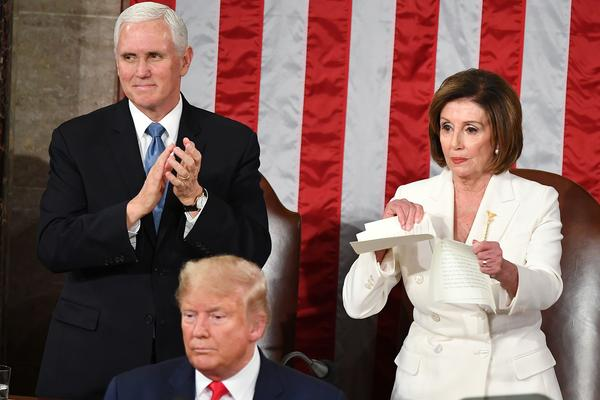 House Speaker Nancy Pelosi rips a copy of President Trump's speech after he delivered the State of the Union address at the Capitol on Tuesday.